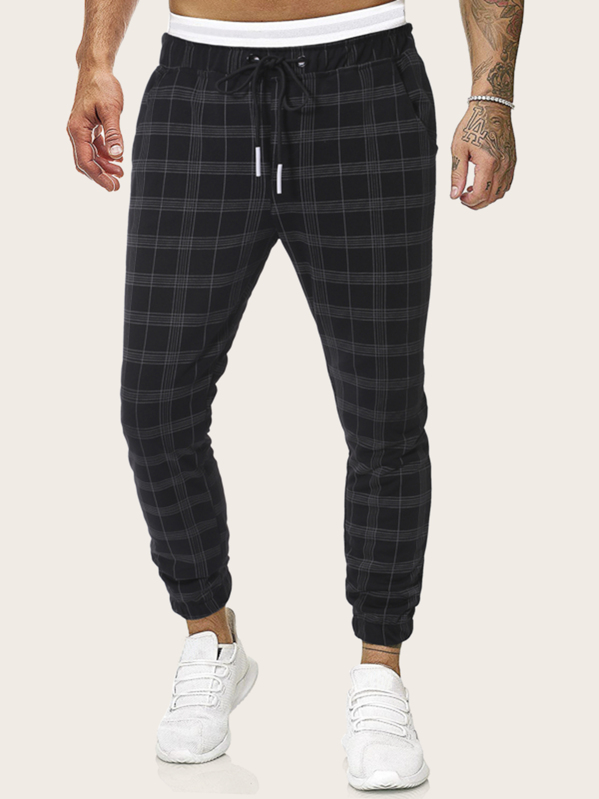 Men Plaid Drawstring Waist Pants by Sheinside