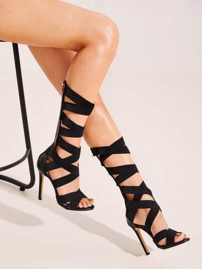 445a7113ce4cd9 Chaussures à talons aiguilles zippées avec brides croisées