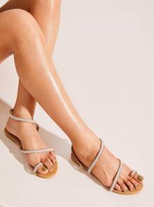 Toe Ring Beaded Flat Sandals