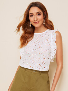 Eyelet Embroidery Frill Button Back Blouse