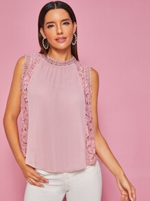 Contrast Guipure Lace Mock Collar Solid Blouse