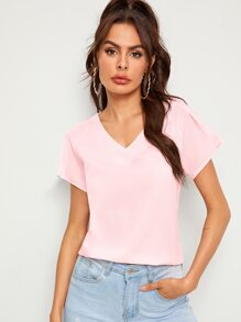 V-neck Solid Raglan Sleeve Blouse
