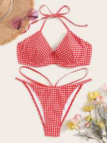 Gingham Halter Top With Cut-out Bikini Set