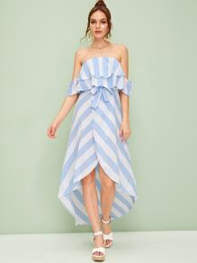 Striped Layer Ruffle Off Shoulder Belted Dress