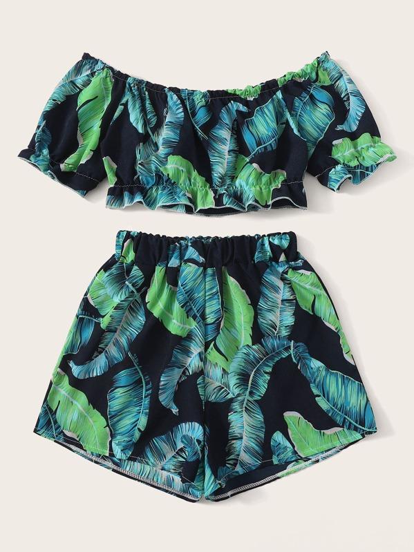 Ensemble top et short à imprimé tropical