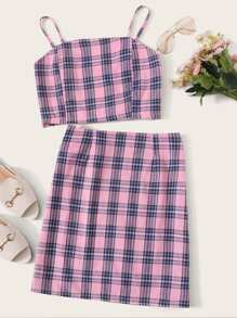 Tartan Plaid Shirred Cami Top With Skirt