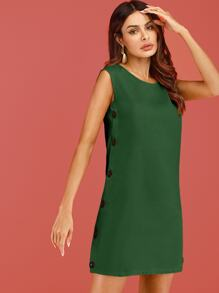 Button Side Solid Sleeveless Dress