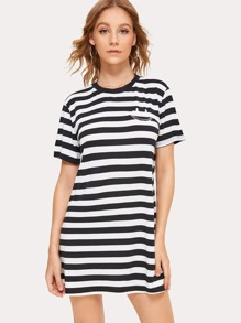 Smile Embroidery Stripe Tee Dress