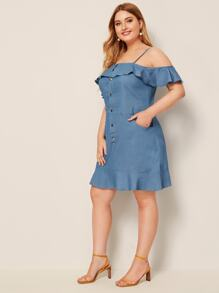 Plus Button Front Ruffle Hem Cold Shoulder Denim Dress