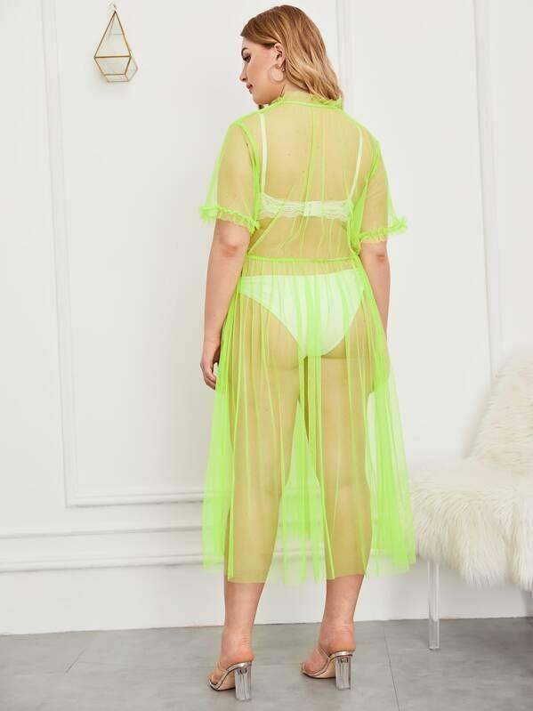 fae6a23e58f8b5 Plus Neon Green Frill Trim Sheer Mesh Dress | SHEIN UK