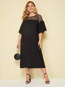 Plus Cut-out Embroidery Yoke Dress