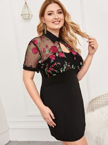 Plus Contrast Embroidery Mesh Cut-out Dress