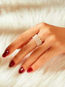 Faux Pearl Design Ring 1pc