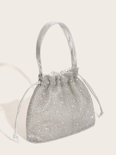 Metallic Clutch Bag With Drawstring