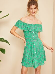 Ditsy Floral Button Front Ruffle Overlay Bardot Dress