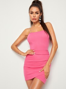 Asymmetrical Wrap Hem Bodycon Tube Dress