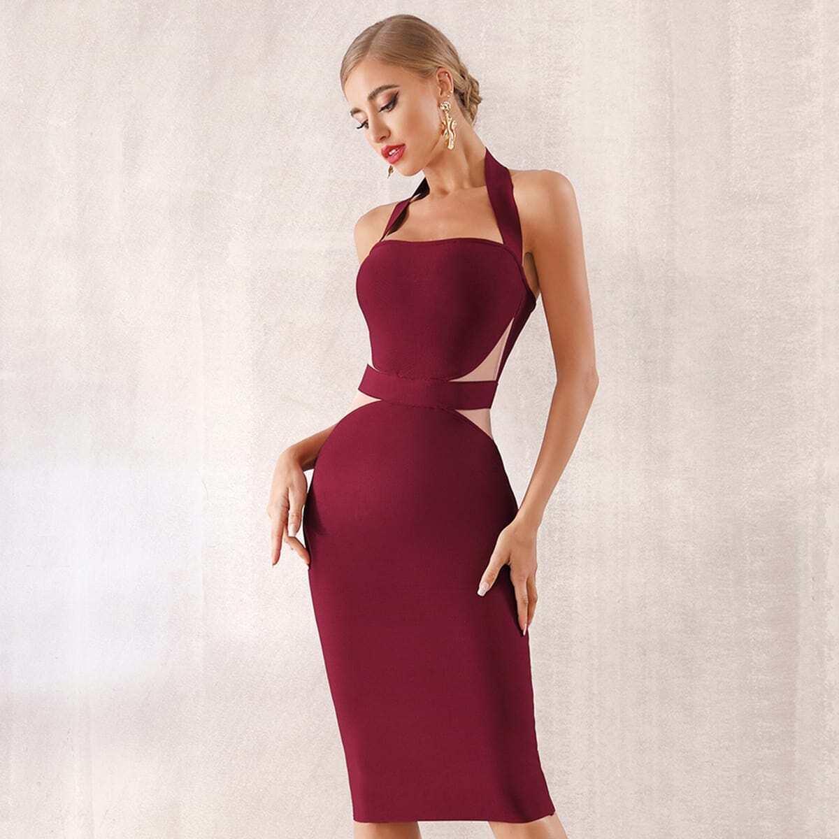 облегающее платье-халтер с разрезом