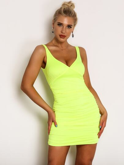 0dba109329d5 Joyfunear Neon Yellow Ruched Detail Satin Bodycon Dress