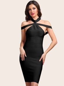 Adyce Backless Halterneck Pencil Dress