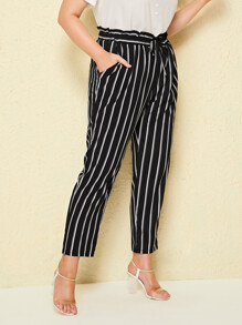 Plus Paperbag Waist Striped Pants