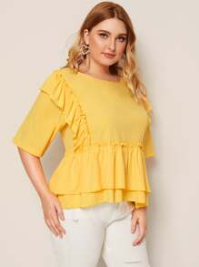 Plus Size Solid Ruffle Trim Smock Blouse