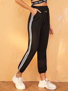 Contrast Tape Side Drawstring Pants