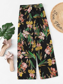 Plus Floral Print Tie Front Wide Leg Pants