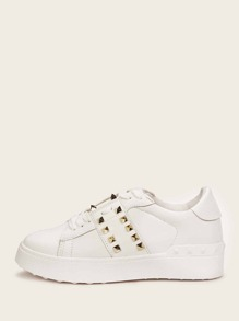 Studded Decor Lace-up Sneakers