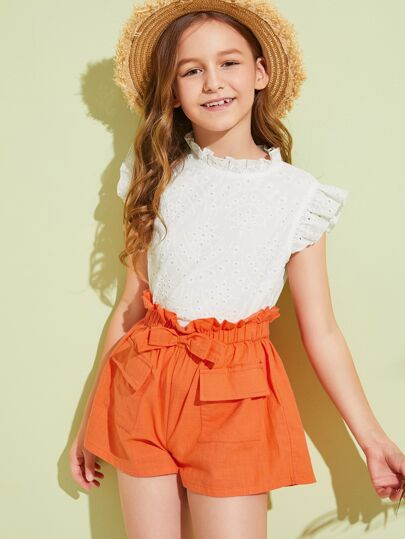 Girls Mock-Neck Embroidery Eyelet Top