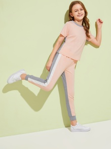 Girls Contrast Side Seam Two Tone Top & Pants Set