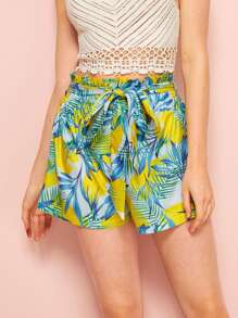 Tropical Print Belted Paperbag Waist Shorts