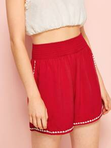 Lace Panel Shirred High Waist Shorts
