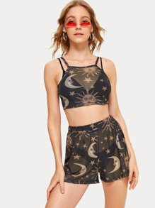 Moon & Sun Print Mesh Cami Top With Shorts Without Underwear