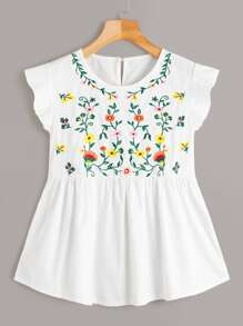 Button Keyhole Floral Embroidery Babydoll Blouse