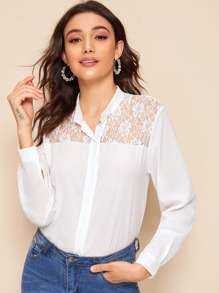 Lace Panel Button Front Blouse