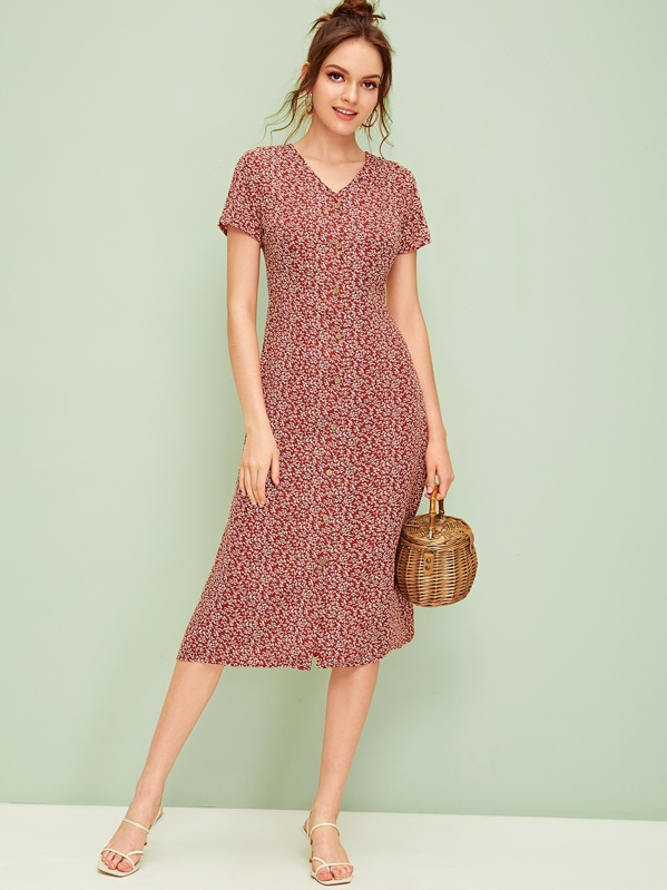 9cde06479989 Ditsy Floral Button Front Midi Dress | SHEIN UK