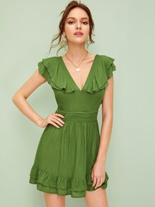 Layered Ruffle Tie Back Solid Dress