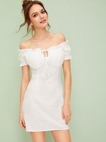 Off The Shoulder Knot Frill Trim Dress
