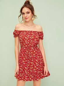 Ditsy Floral Off The Shoulder Ruffle Hem Dress