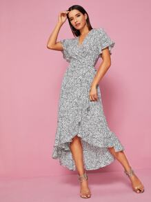 Dalmatian Print Ruffle Trim Wrap Dress