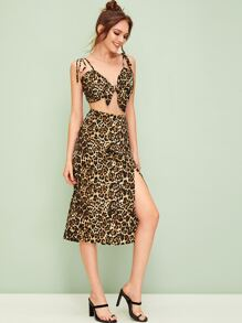 Leopard Tie Front Cami Top With Slit Hem Skirt