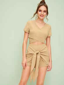Solid Wrap Top With Tie Front Shorts