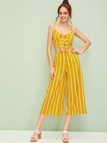 Striped Shirred Tie Front Cami Top With Wide Leg Pants