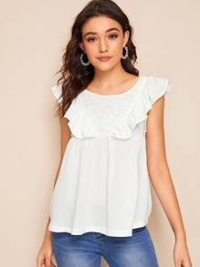 Contrast Lace Ruffle Trim Sleeveless Top