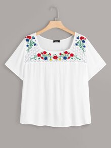 Plus Embroidery Floral Textured Top