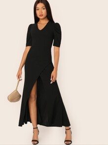 Slit Fishtail Solid Maxi Dress