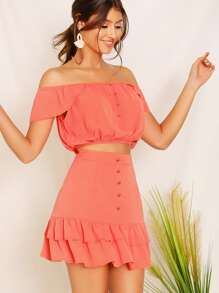 Off Shoulder Ruffle Top and Layered Hem Skirt Set