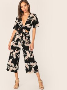 Plunging Neck Tie Front Top & Palazzo Pants Set