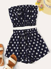 Drawstring Shirred Hem Polka Dot Bandeau Top & Shorts Set