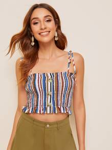 Knot Strap Buttoned Shirred Striped Top
